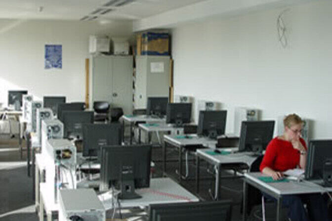Female student in a computer lab